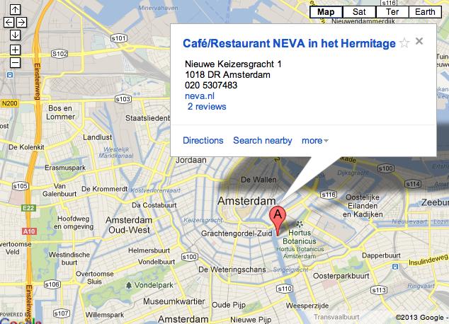 Plan-Musée Hermitage Amsterdam - Café Neva